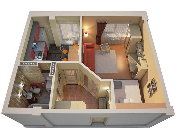 Планировка двухкомнатной квартиры площадью 44 кв м