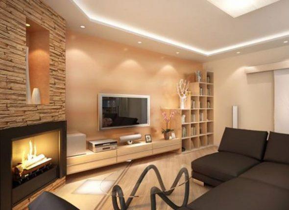Дизайн гостиной в двухкомнатной квартире площадью 44 кв м