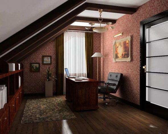 Кабинет в мансардном помещении