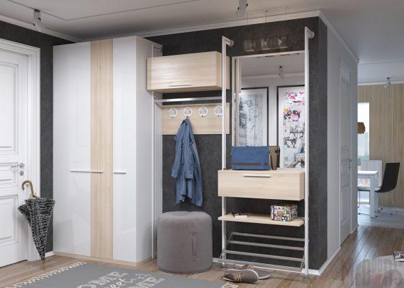 Шкаф-купе в прихожей с открытыми стеллажами