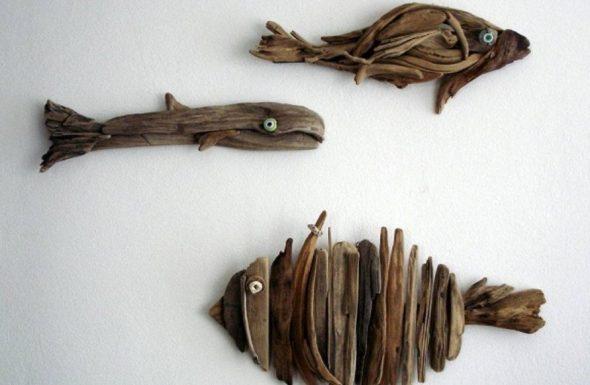 Рыбки из деревянных прутьев