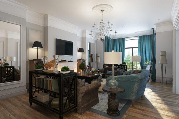 Дизайнерские абажуры в оформлении гостиной