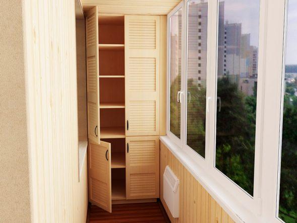 Шкаф с полками на балконе