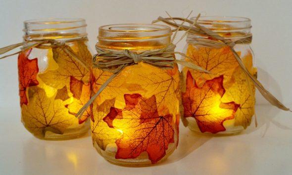 Подсвечники из листьев