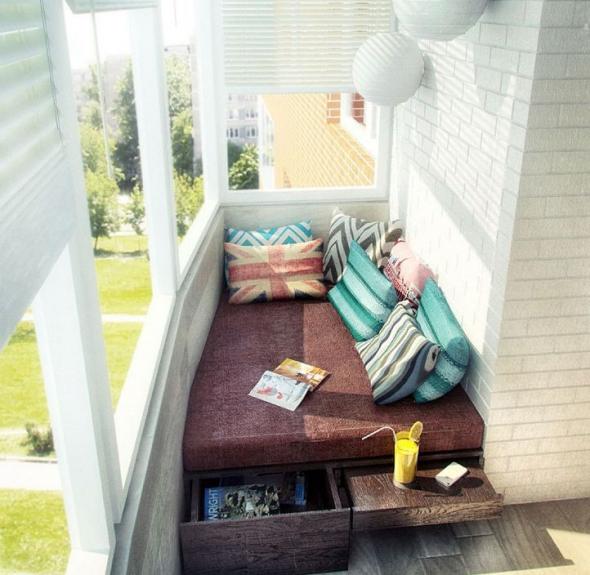 Балкон, объединённый с комнатой