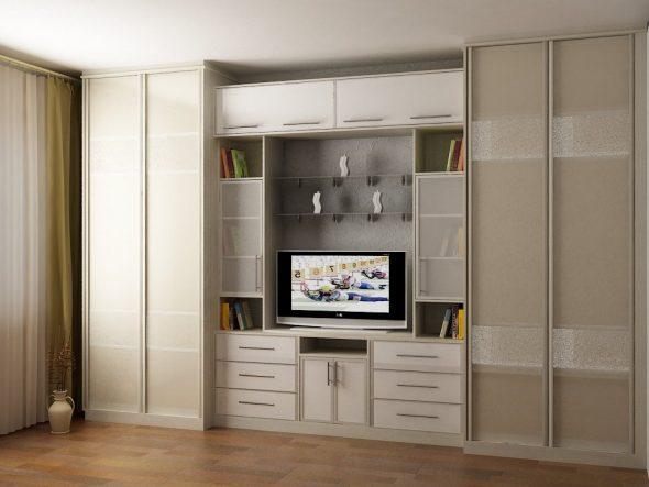 Встроенный шкаф-стенка в гостиной площадью 18 кв. м