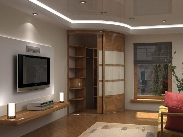 Угловая гардеробная в интерьере гостиной 18 кв. м