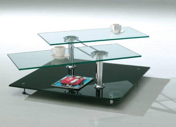 Стеклянный журнальный столик для современного интерьера