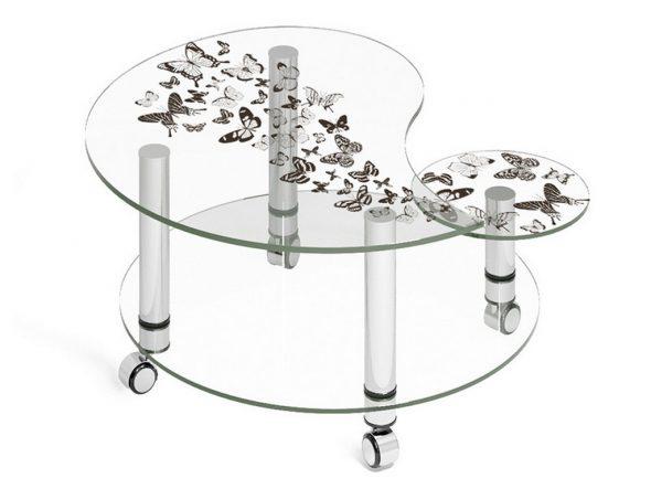 Журнальный столик из стекла с рисунком