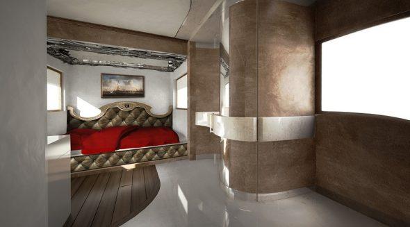 Спальня внутри автодома