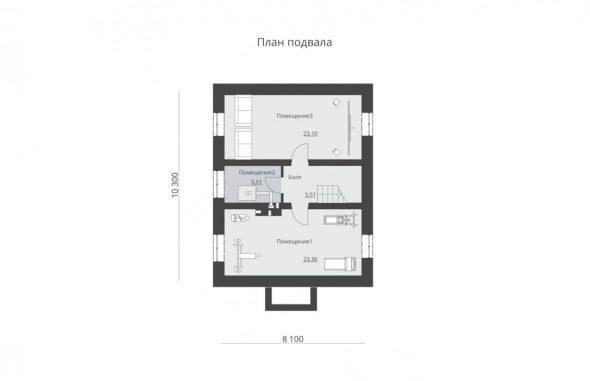 Планировка цокольного этажа дома 8х10