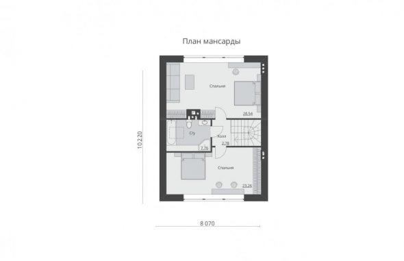 Планировка мансарды частного дома 8х10