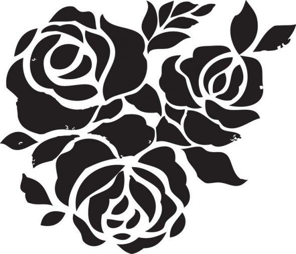 Трафарет для декора стен с изображением роз