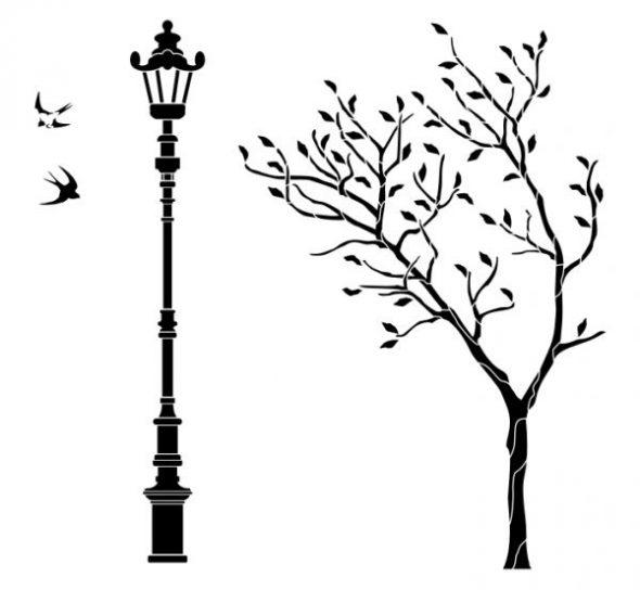 Трафарет с фонарём и деревом