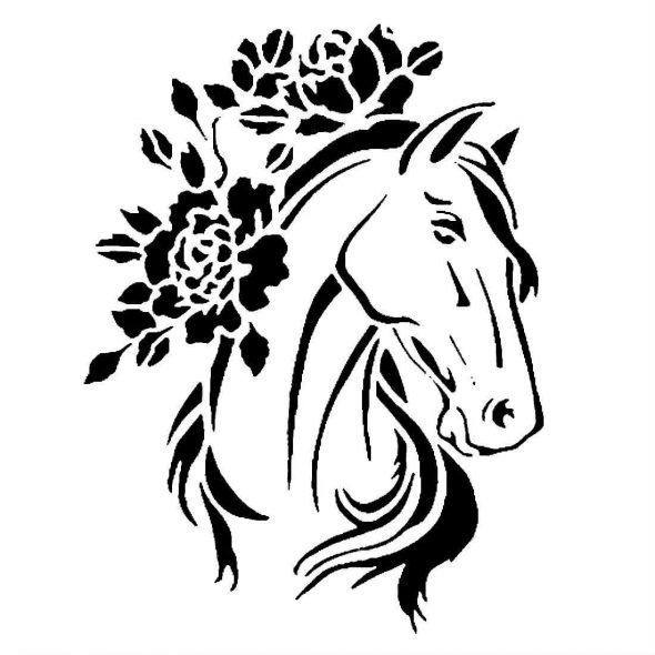 Изображение коня с цветами