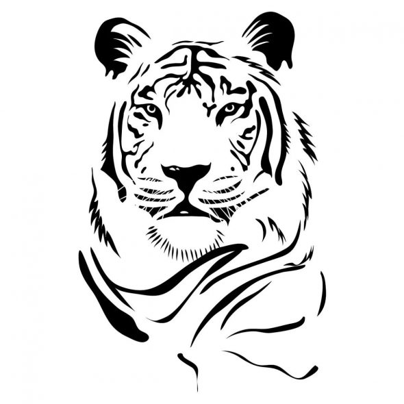 Чёрно-белый лев для украшения квартиры