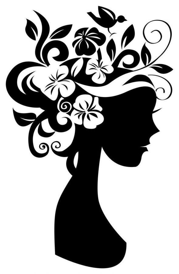 Трафарет для декорации с нарисованной девушкой