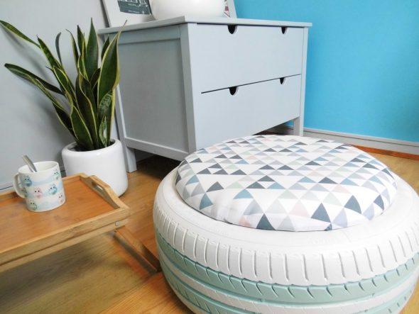 Окрашенная шина с подушкой из текстиля