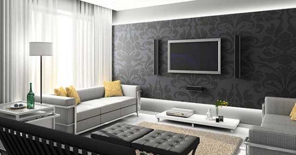 Тёмно-серые обои с орнаментом в гостиной