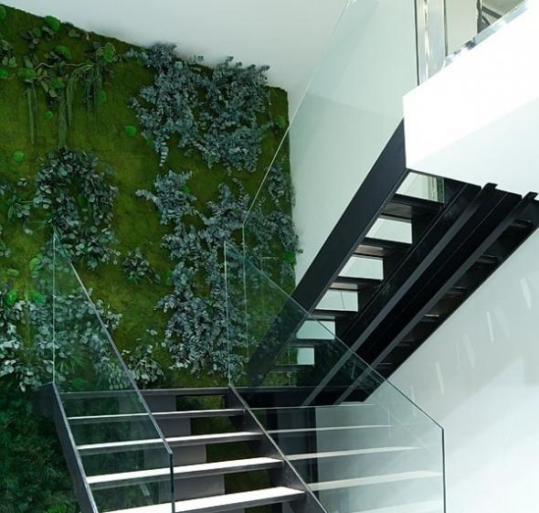 Вертикальный сад возле лестницы