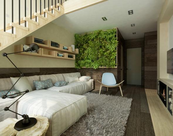 Вертикальный сад под лестницей