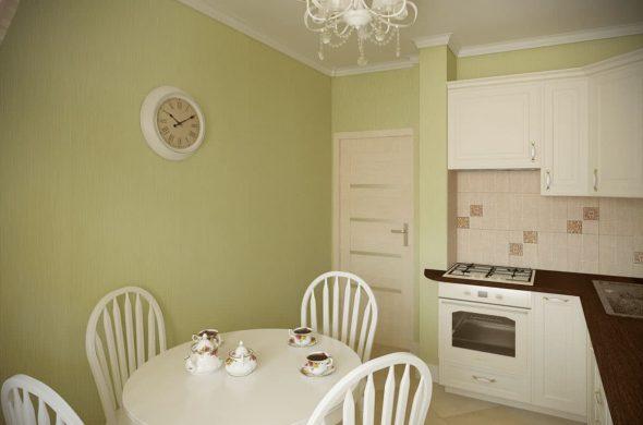 Кухня со светло-фисташковыми стенами