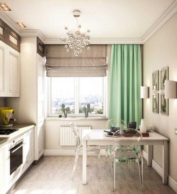 Светлая кухня со шторами мятного цвета