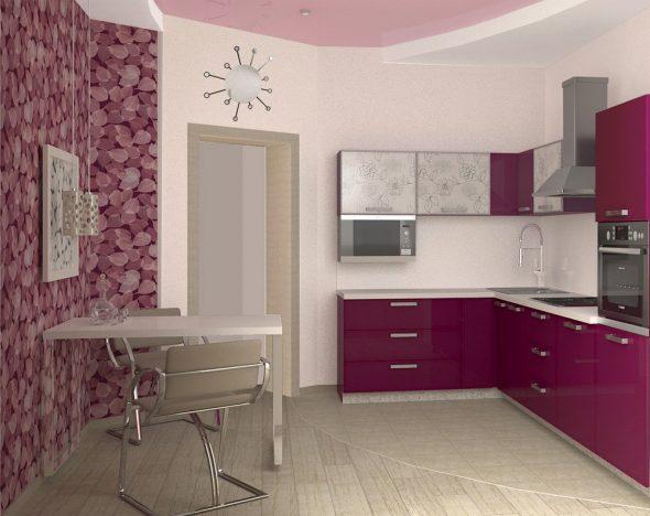 Кухня в белых и бордовых тонах