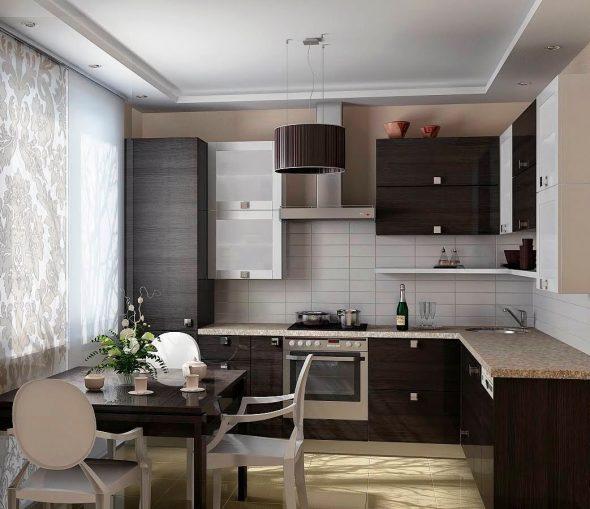Чёрно-белый интерьер кухни