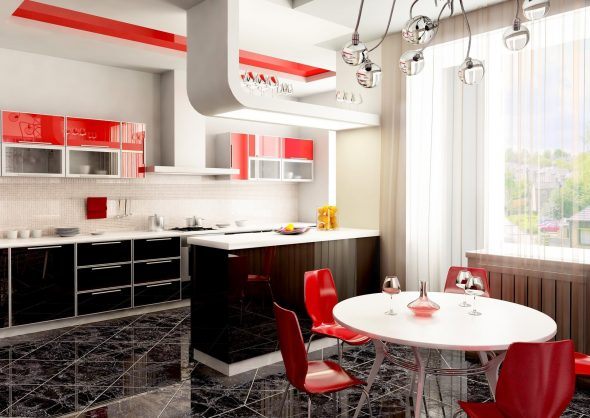 Кухня-столовая с красными акцентами