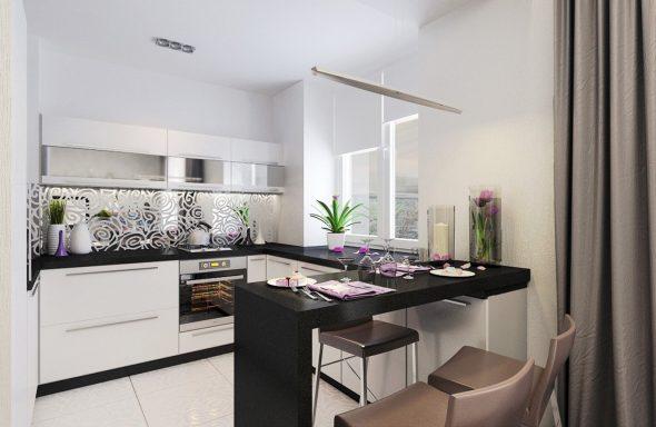Чёрно-белая кухня с барной стойкой