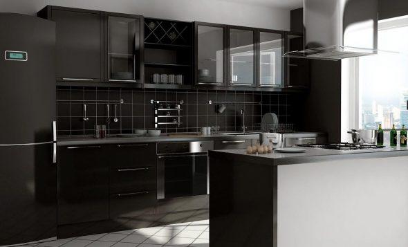 Кухня чёрного цвета с белым полом