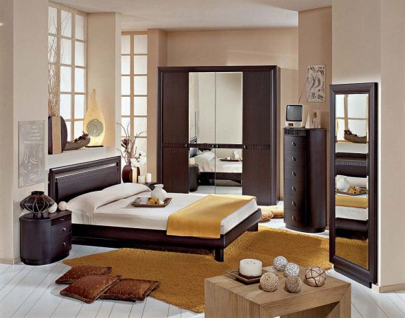 Венге в интерьере спальни