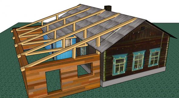 3D проект возведения пристройки к существующему дому
