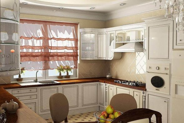 Вариант дизайна кухни с угловым гарнитуром