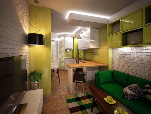 Кухня в зелённых оттенках