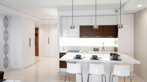 Белая мебель с деревянными вставками на кухне