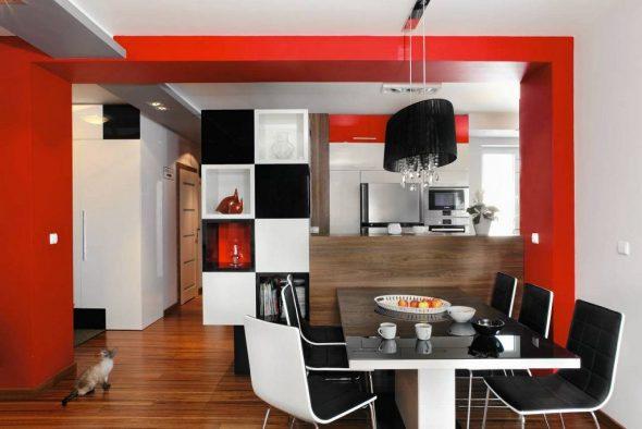 Контрастные цвета в дизайне кухни