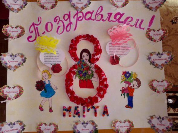 Плакат для коллективных поздравлений на 8 Марта