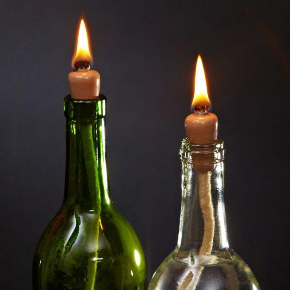 Масляная лампа из стеклянной бутылки