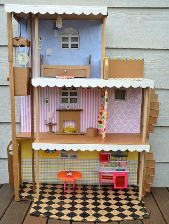кукольный домик из старых обувных коробок