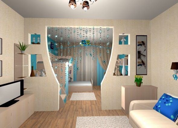 Зонирование комнаты на детскую и гостиную