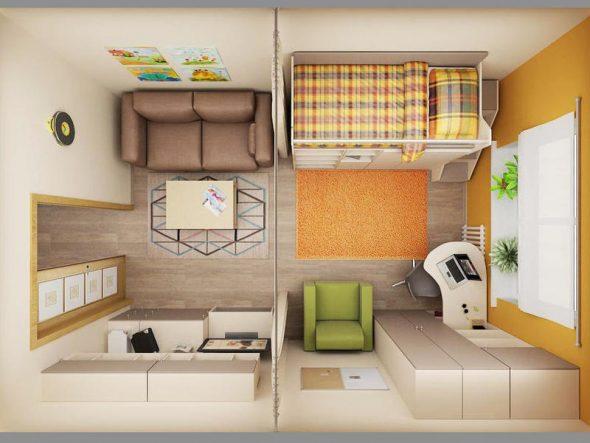 Вид комнаты сверху