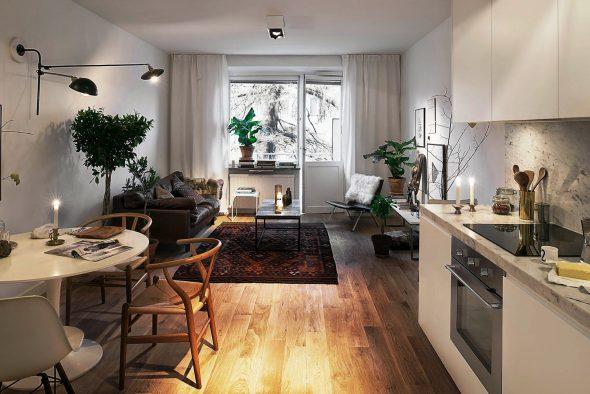 Кухня в маленькой квартире-студии