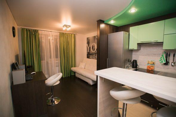 Зелёный цвет в дизайне квартиры-студии