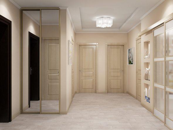 Шесть одинаковых дверей в холле