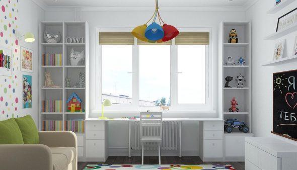 Вместительные полки и письменный стол в детской