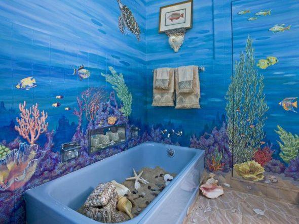 Роспись стен в ванной комнате в виде подводного мира