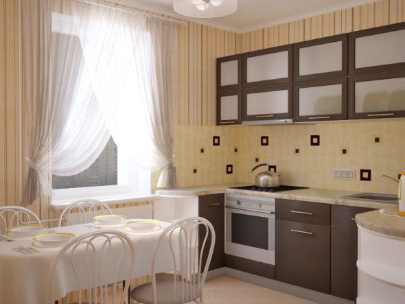 Тёплые оттенки обоев в интерьере кухни