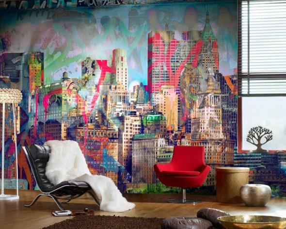 Граффити в сочетании с фотообоями